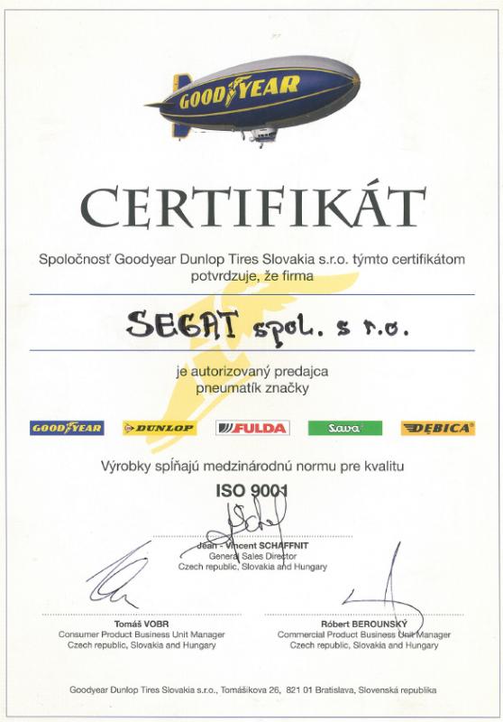 Certifikát GoodYear