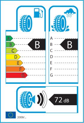 Štítok na označenie pneumatík obsahuje informácie o palivovej úspornosti, priľnavosti na mokrom povrchu a úrovni hluku.