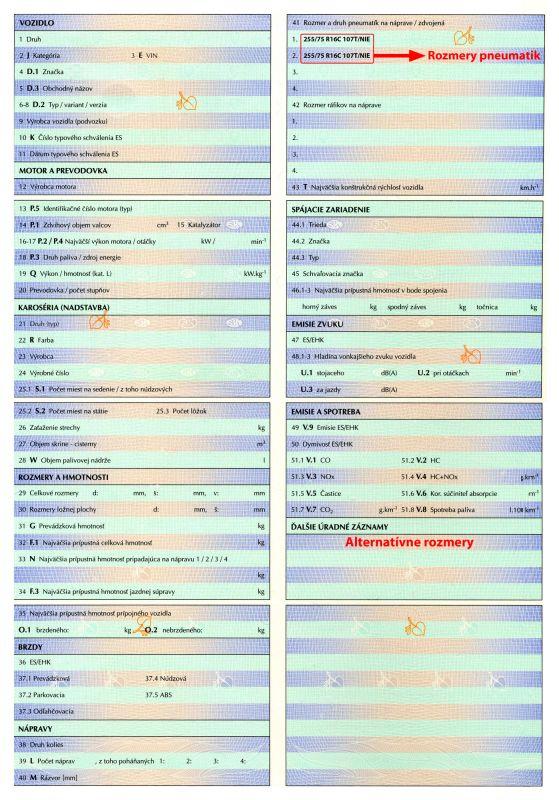 Základné údaje o rozmere a druhu pneumatiky a o rozmere ráfika na náprave sú uvedené v technickom preukaze